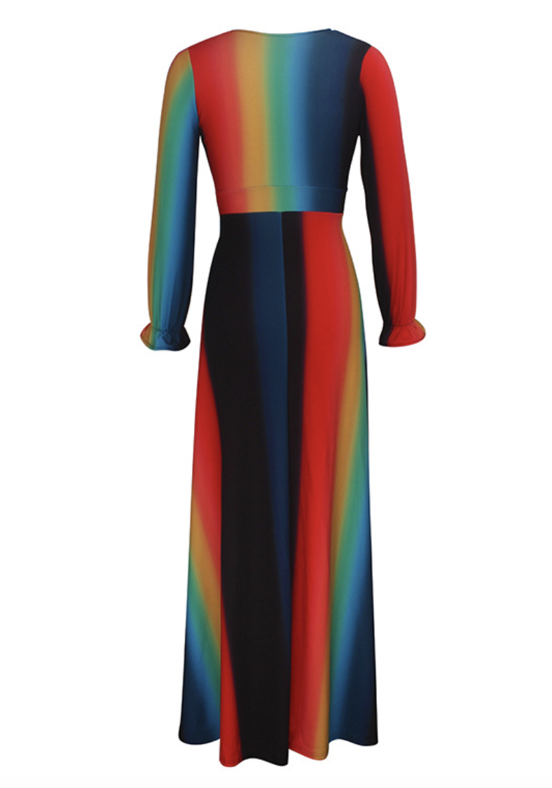 Lovely Sexy Striped Multicolor Ankle Length Dress