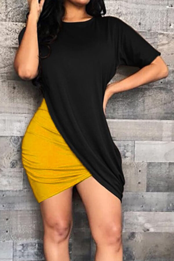 Lovely Trendy Patchwork Yellow Mini Dress