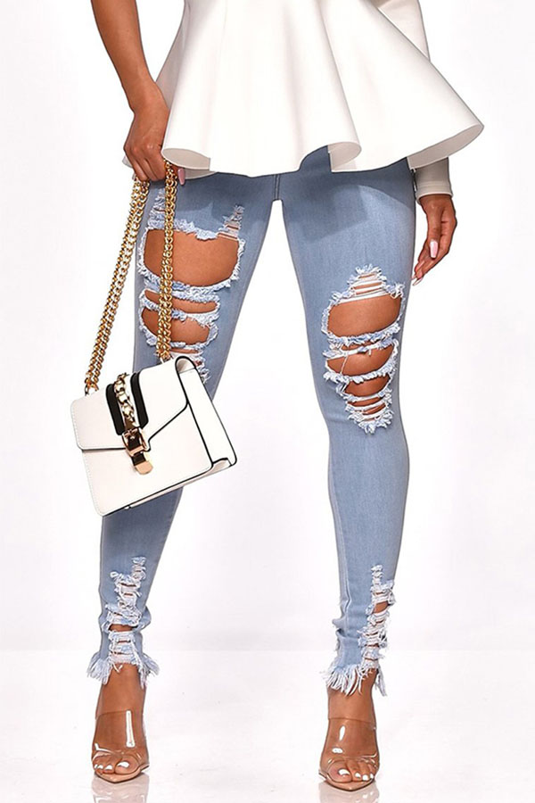 Jeans Lovely Chic Hollow-out Baby Blue Jeans