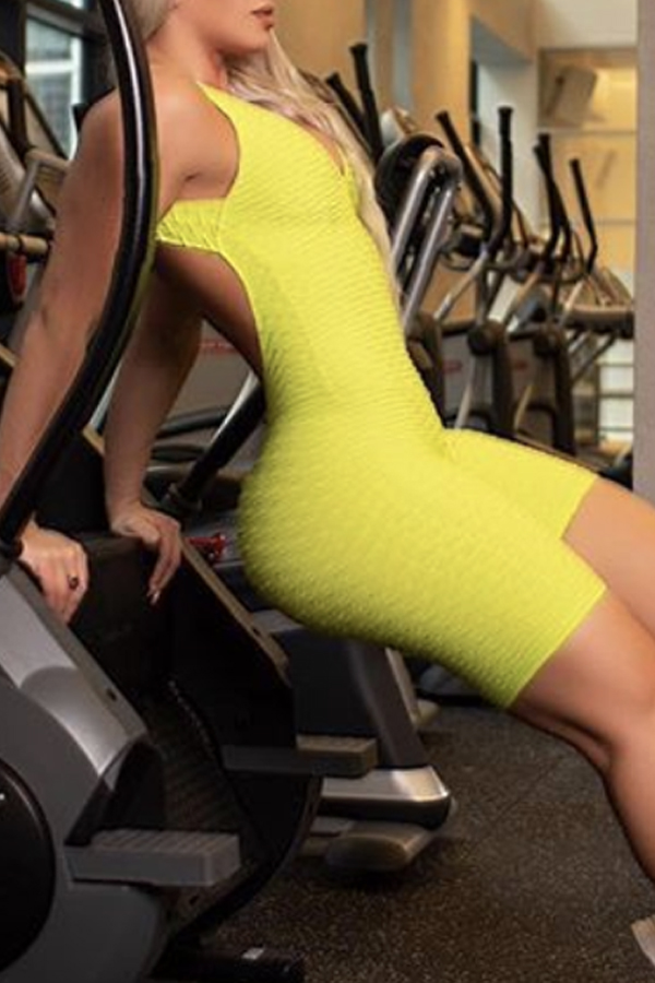 Lovely Sportswear Backless Yellow One-piece Romper