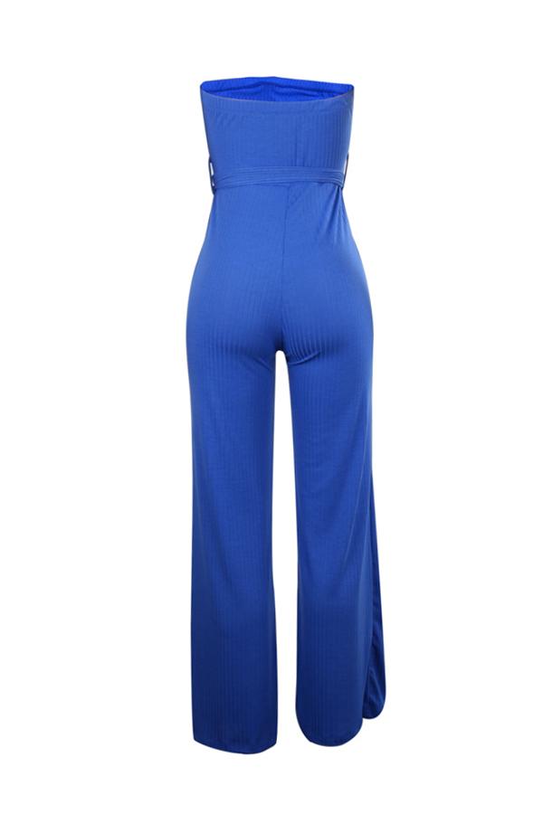 Lovely Casual Dew Shoulder Blue One-piece Jumpsuit