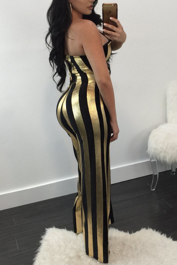 Lovely Sexy Striped Black One-piece Jumpsuit
