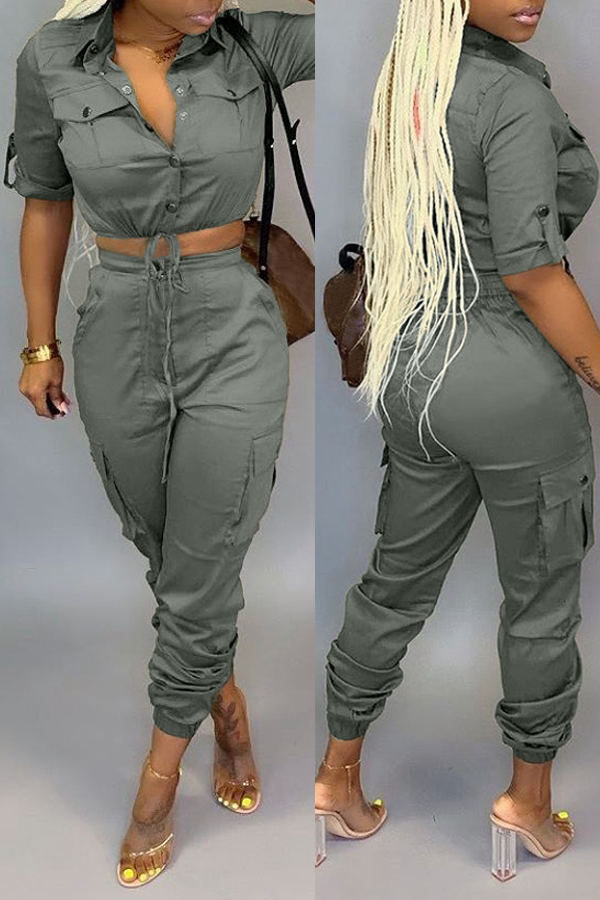 Lovely Chic Crop Top Button Army Green Two-piece Pants Set