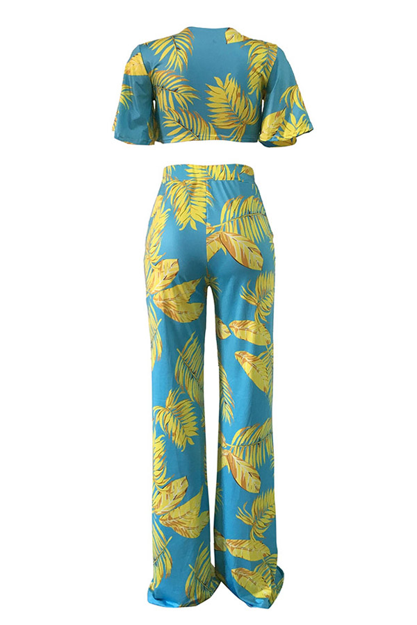 Lovely Chic Floral Print Baby Blue Two-piece Pants Set