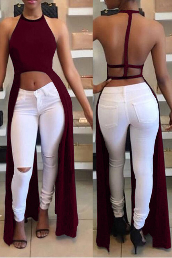 Lovely Sexy Asymmetrical Backless Wine Red Blouse