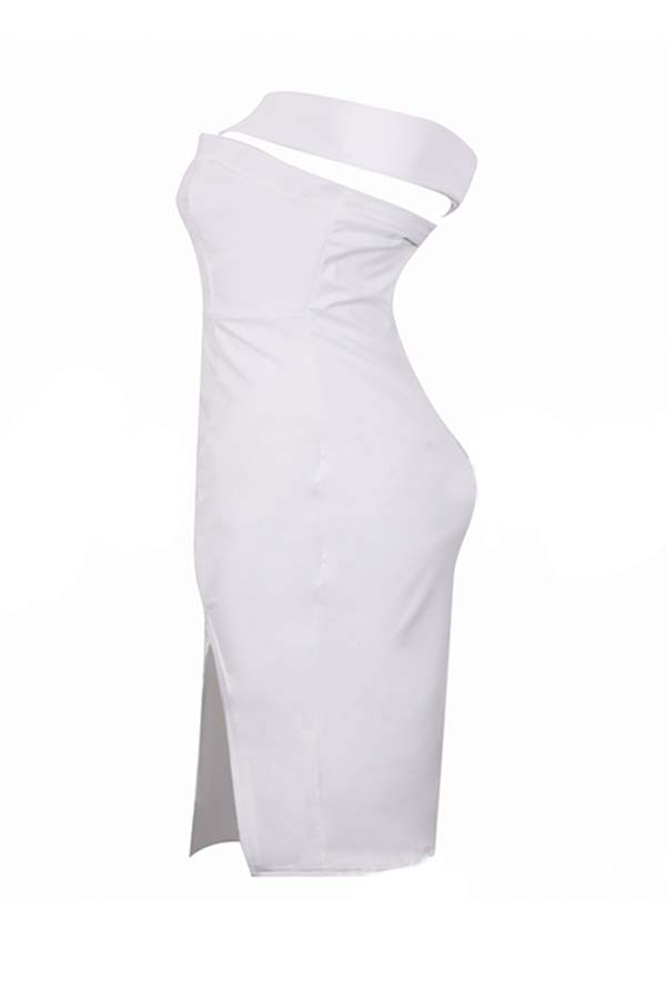 Lovely Party One Shoulder White Knee Length Dress