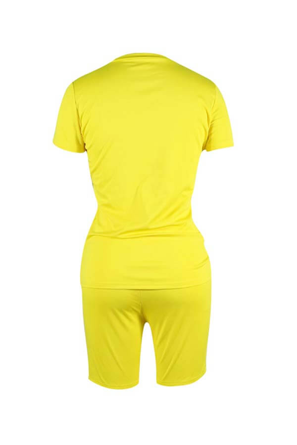 Lovely Casual Basic Yellow Two-piece Shorts Set