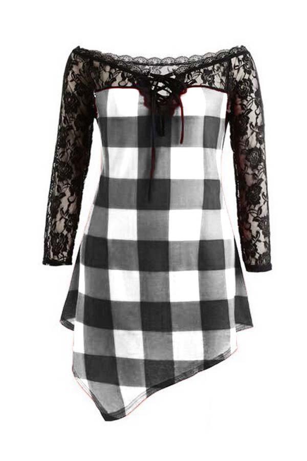 Lovely Casual Plaid Print Black Plus Size Blouse
