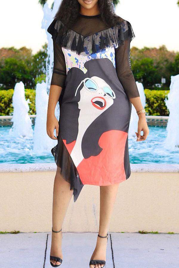 lovelywholesale / Lovely Trendy O Neck Side Slit Black Knee Length Dress