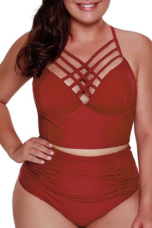Lovely Chi Hollow-out Wine Red Plus Size Two-piece Swimsuit