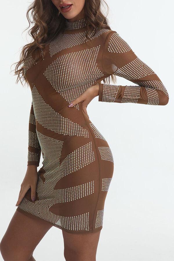 Lovely Sexy Turtleneck See-through Silver Mini Dress