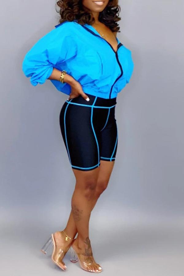 Lovely Casual Turndown Collar Zipper Design Blue Two-piece Shorts Set