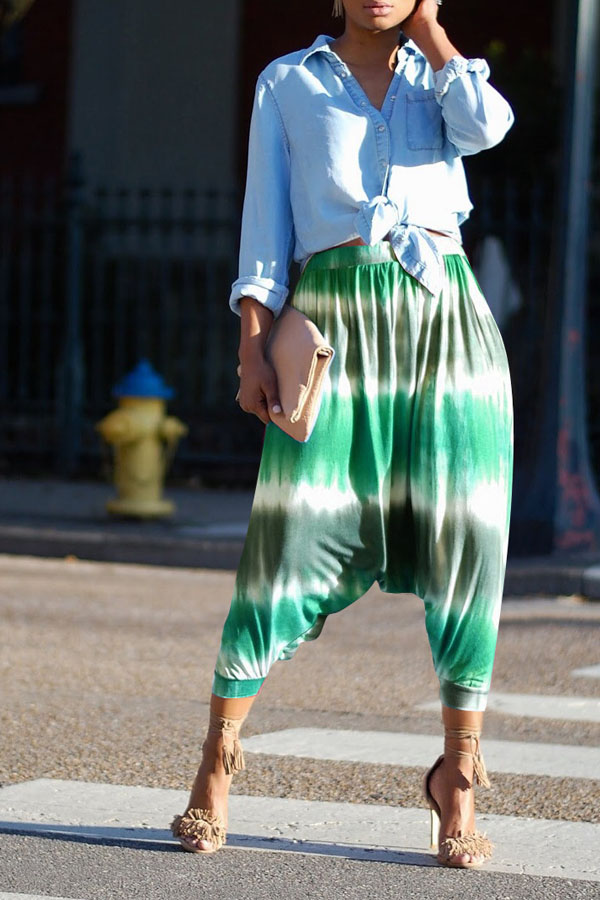 Lovely Chic Loose Print Green Pants
