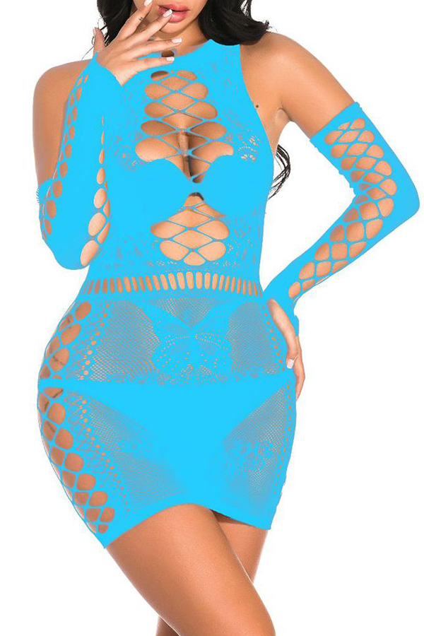 Lovely Sexy Hollow-out Acid Blue Babydolls