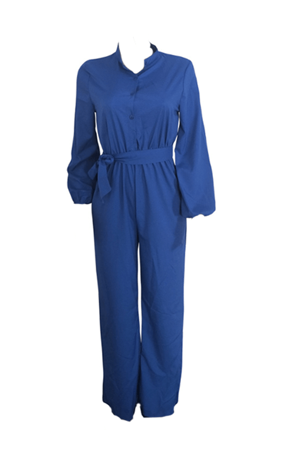 Lovely Work Lace-up Loose Blue One-piece Jumpsuit