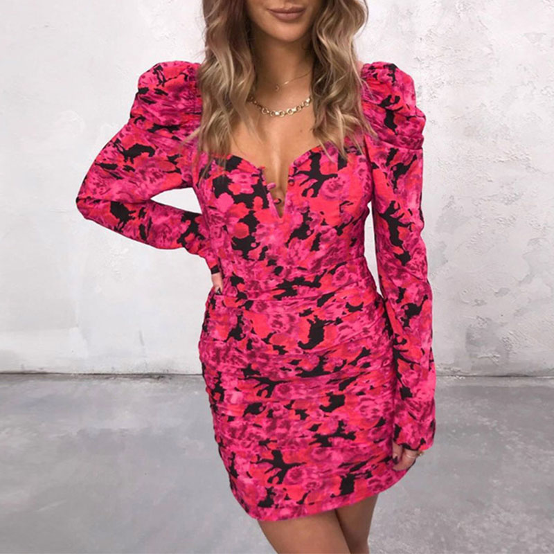 Lovely Chic Floral Print Rose Red Mini Dress