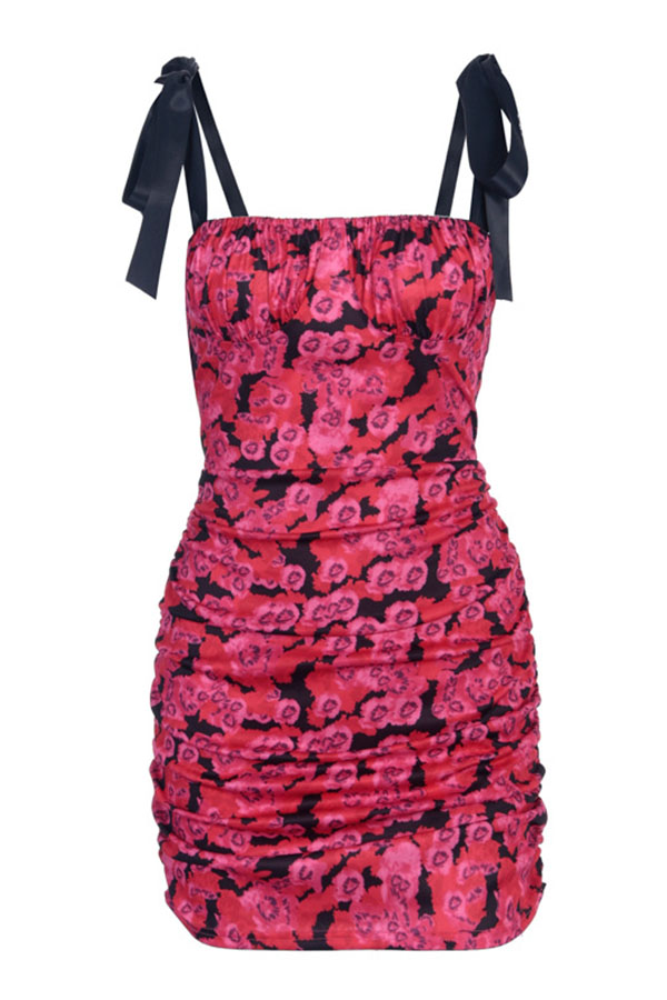Lovely Chic Floral Print Lace-up Rose Red Mini Dress