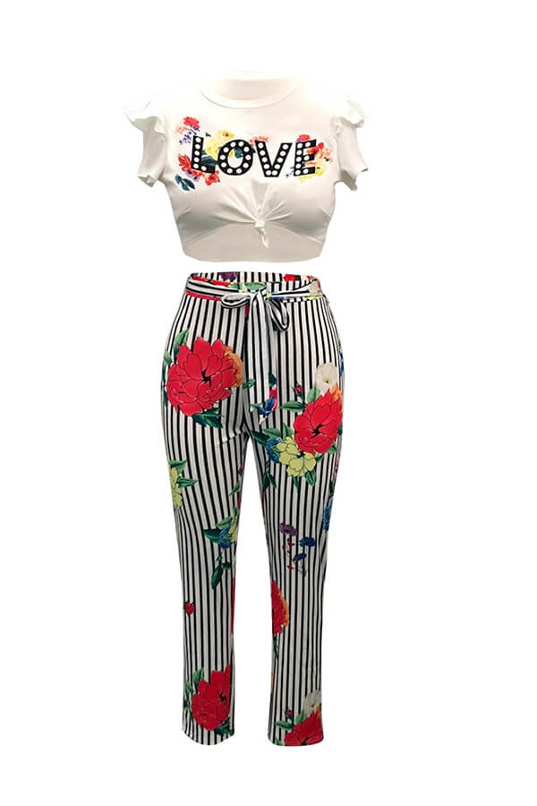 Lovely Casual Floral Print Black Two-piece Pants Set