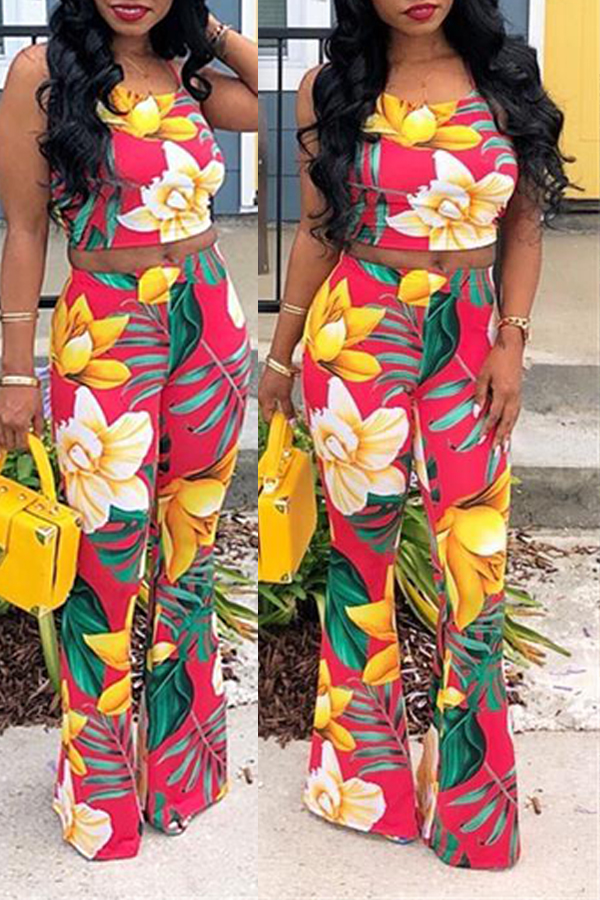 Lovely Leisure Floral Print Yellow Two-piece Pants Set