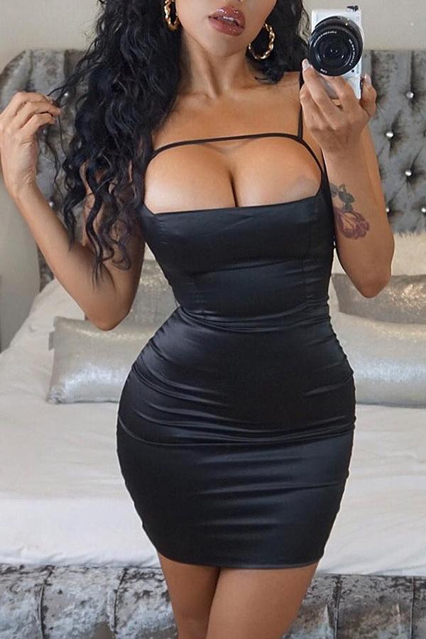 Lovely Trendy Hollow-out Skinny Black Mini Dress