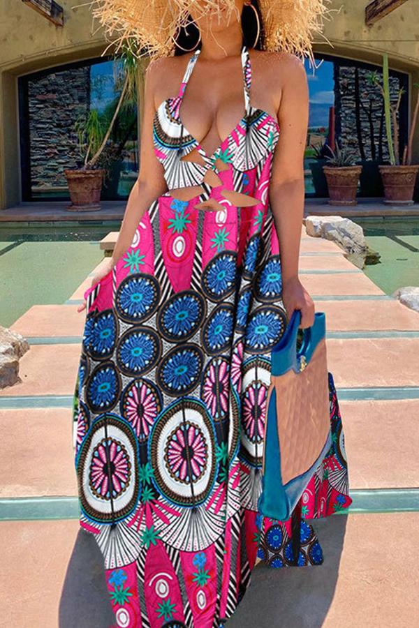 lovelywholesale / Cheap Daily Dress Lovely Bohemian Print Red Maxi Dress
