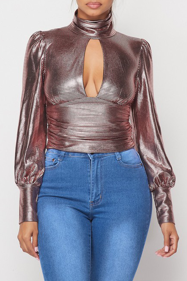 Lovely Sweet Turtleneck Rose Gold Blouse