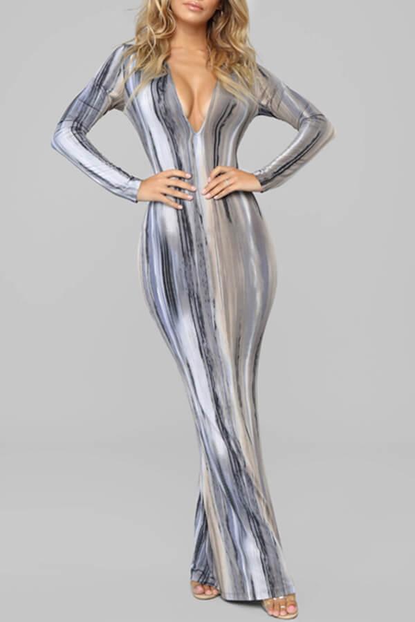 Lovely Leisure Striped Print Grey Maxi Dress