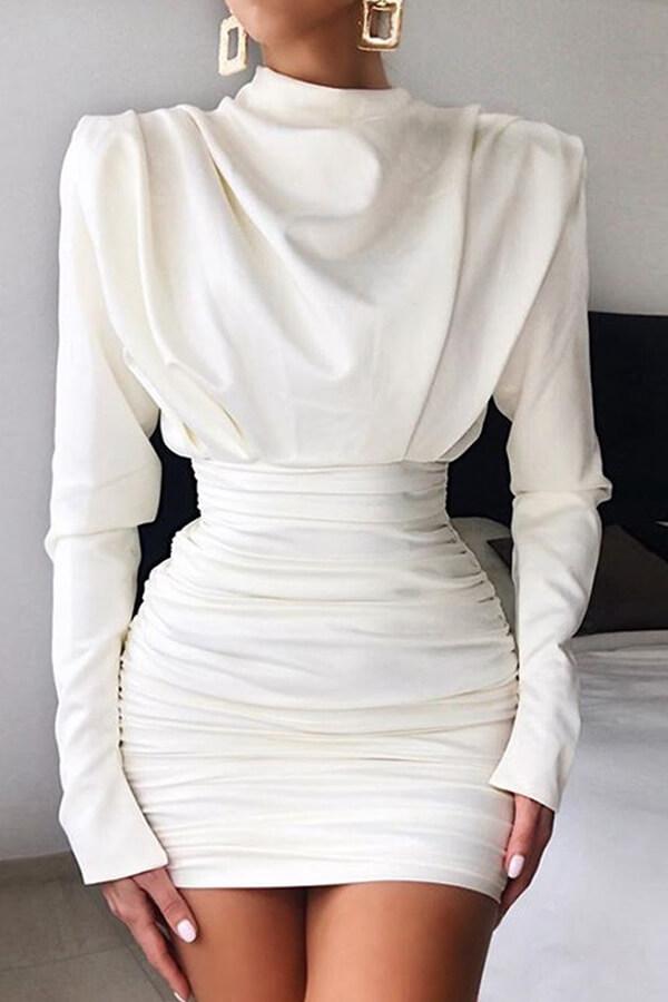 Lovely Chic Fold Design White Mini Dress