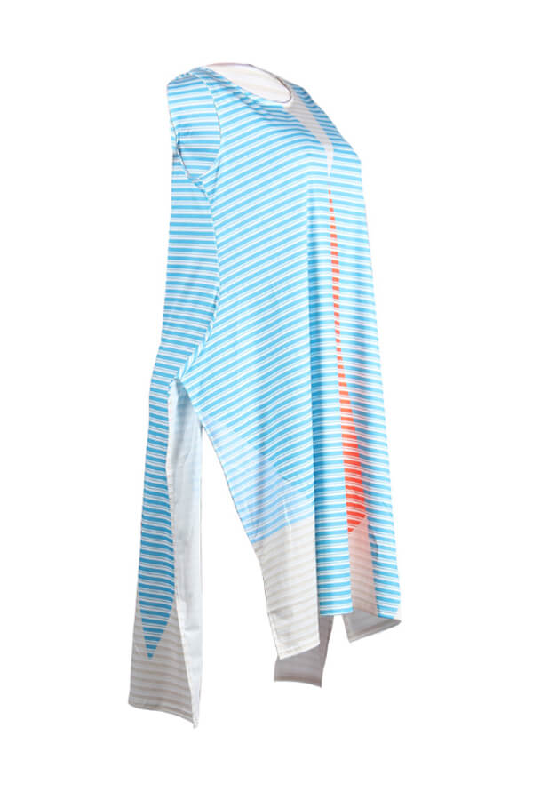 Lovely Leisure Striped Baby Blue Mid Calf  Dress