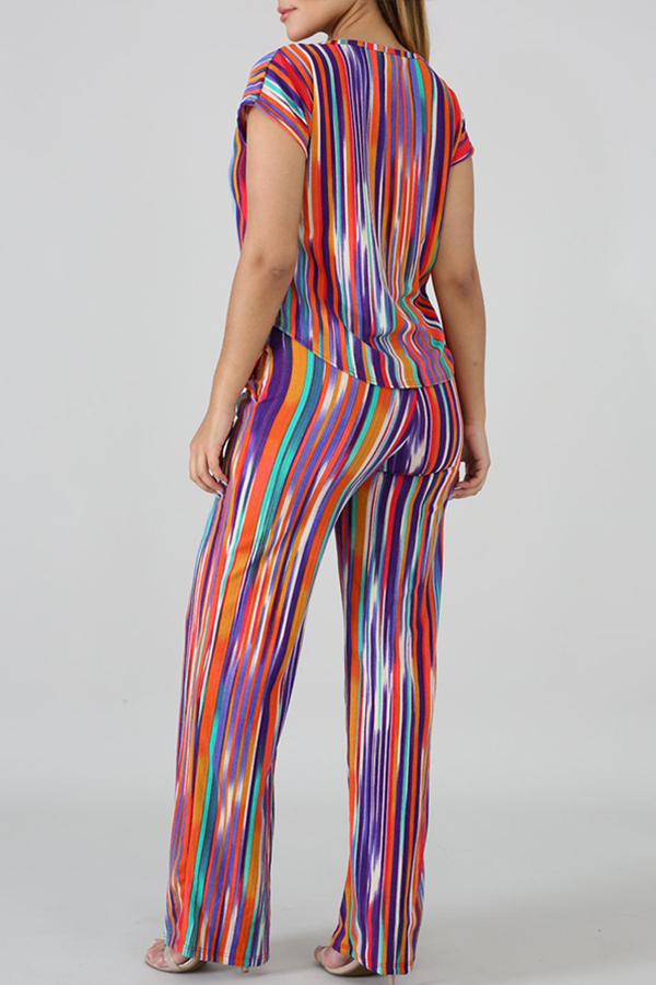 Lovely Leisure Striped Print Multicolor Two-piece Pants Set