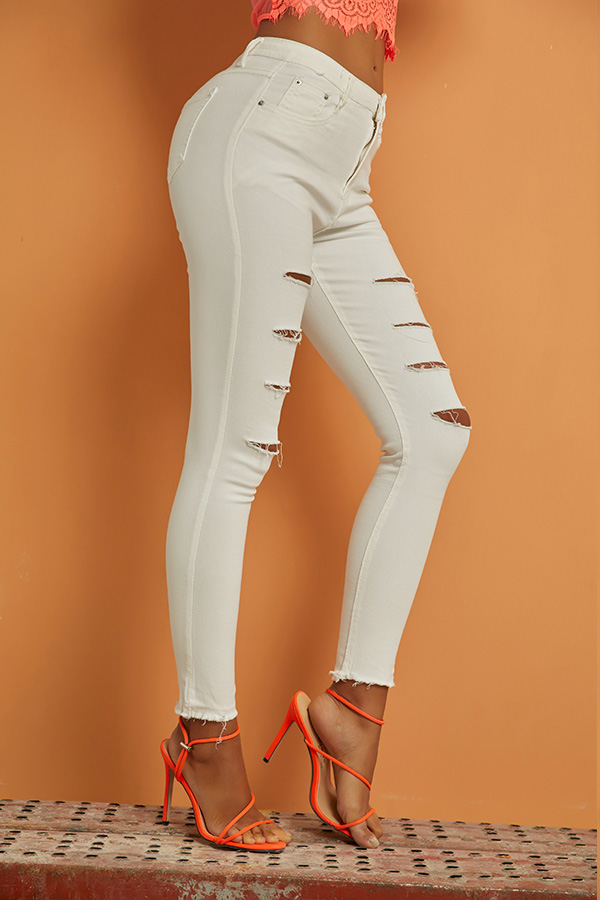 Lovely Casual Broken Hole White Jeans