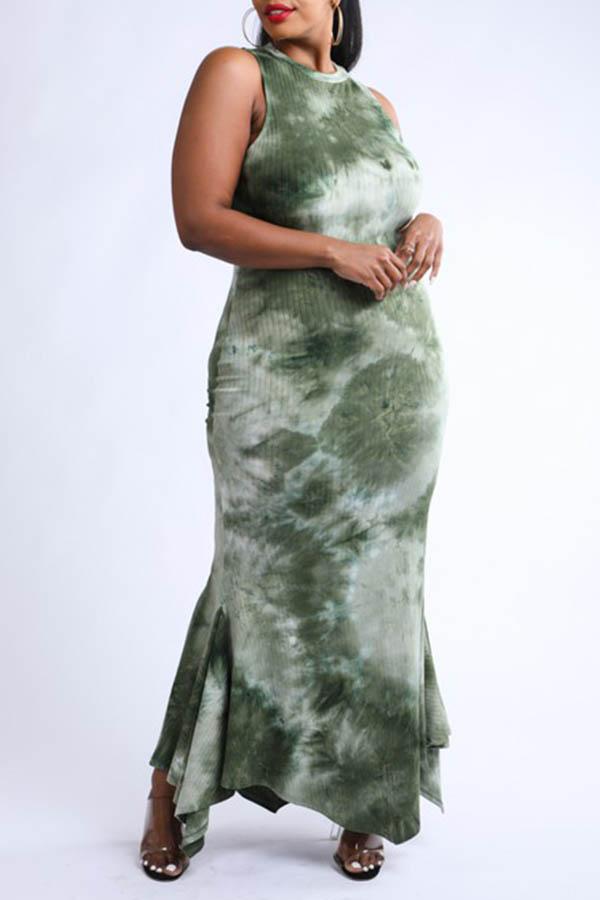 Lovely Bohemian Print Skinny Green Ankle Length Plus Size Dress