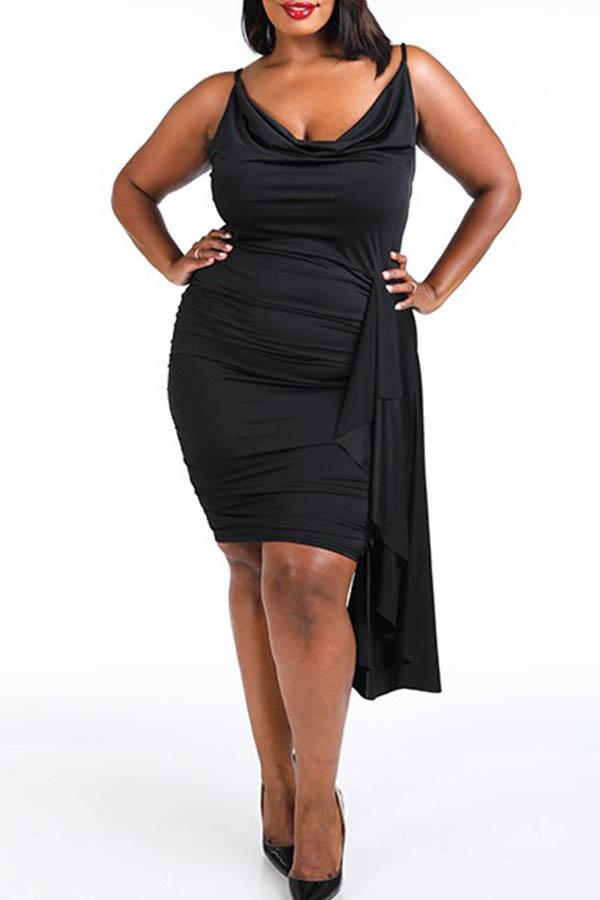 Lovely Chic Fold Design Black Knee Length Plus Size Dress