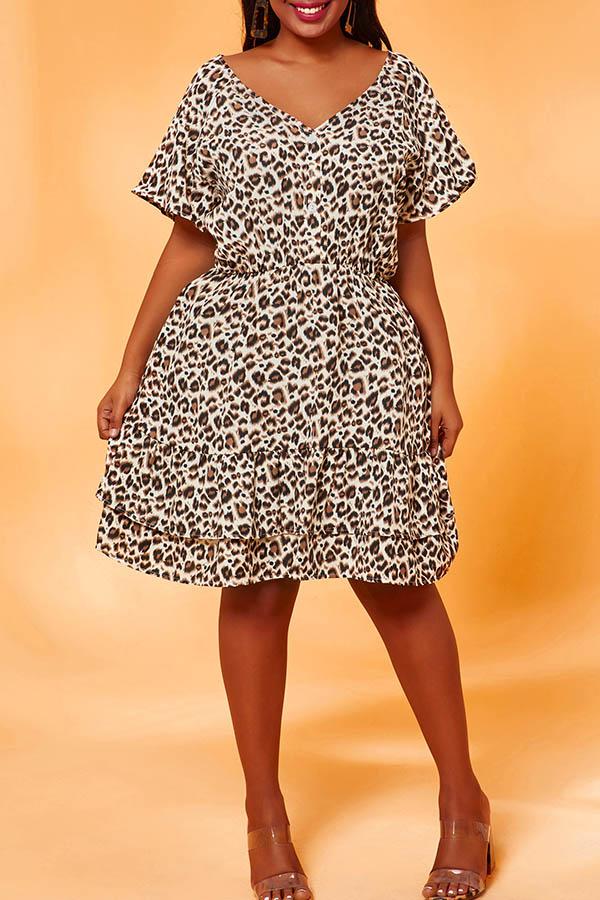 Lovely Casual Print Apricot Plus Size Mini Dress