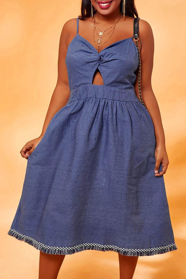 Lovely Chic Basic Blue Knee Length Plus Size Dress