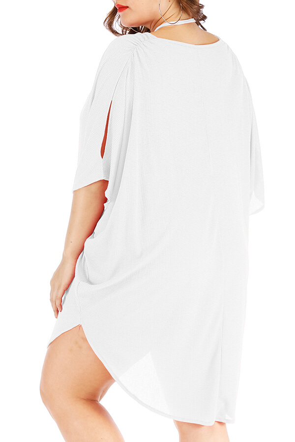 Lovely Casual Loose White Plus Size Mini Dress