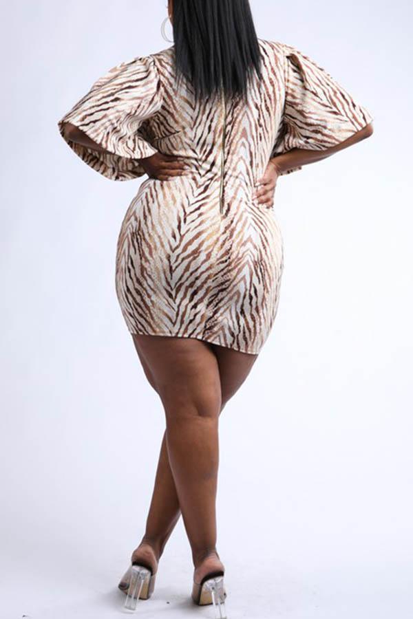 Lovely Casual Deep V Neck Beige Plus Size Mini Dress