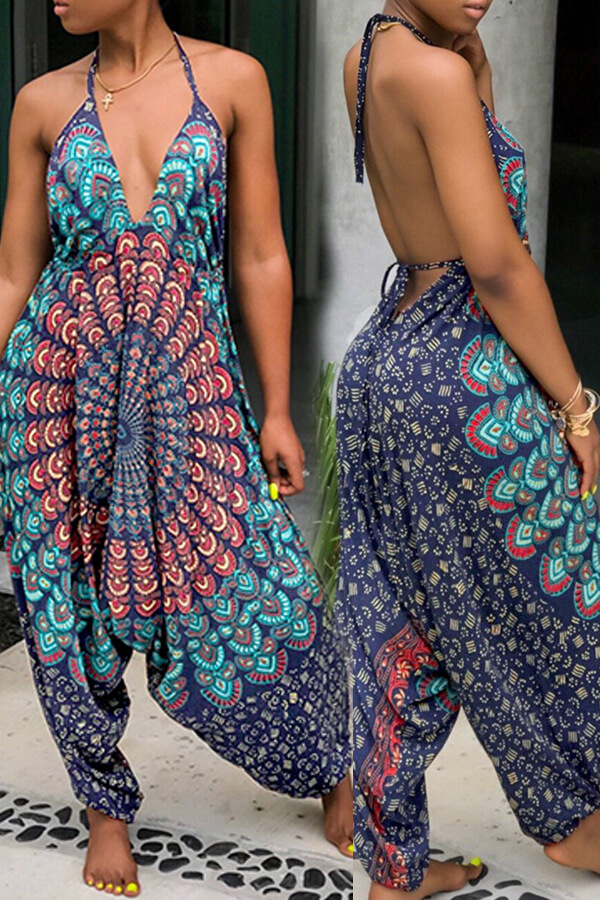 Lovely Casual Backless Multicolor One-piece Jumpsuit