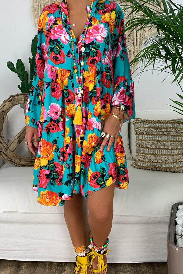 lovelywholesale / Cheap Daily Dress Lovely Bohemian Print Blue Knee Length Dress