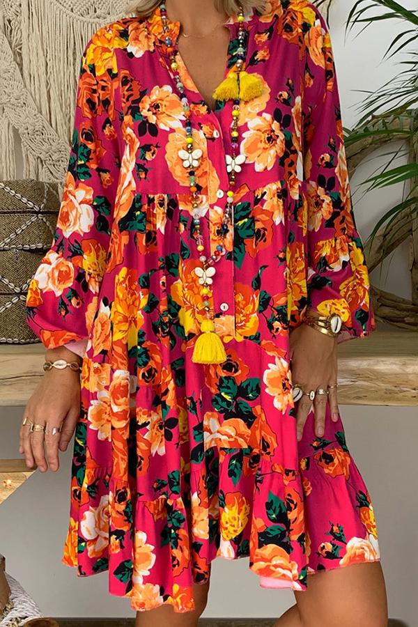 lovelywholesale / Cheap Daily Dress Lovely Bohemian Print Red Knee Length Dress