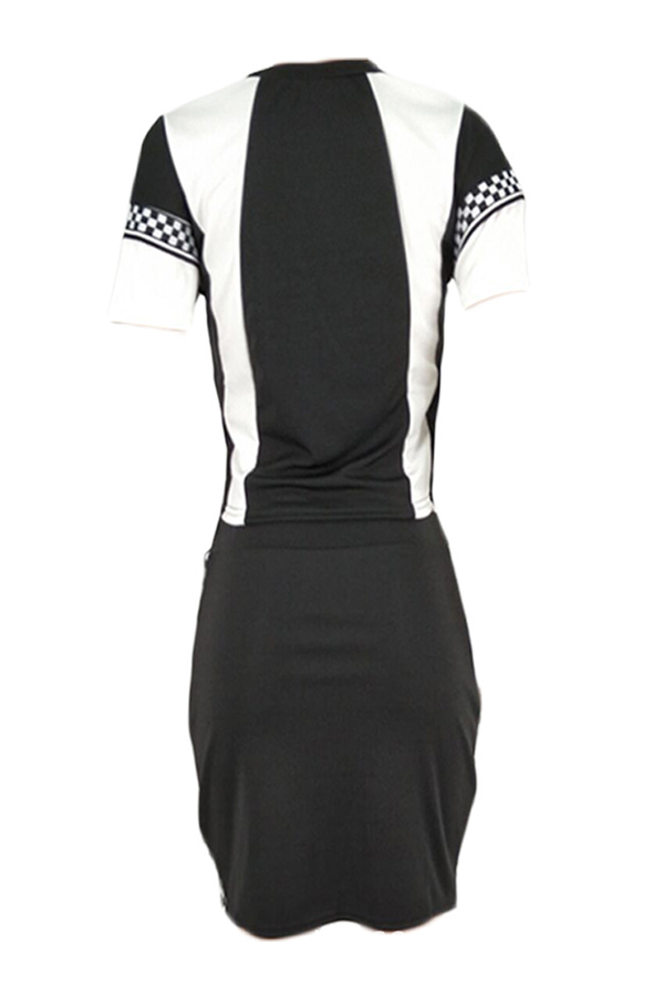 Lovely Trendy Patchwork Black Two-piece Skirt Set