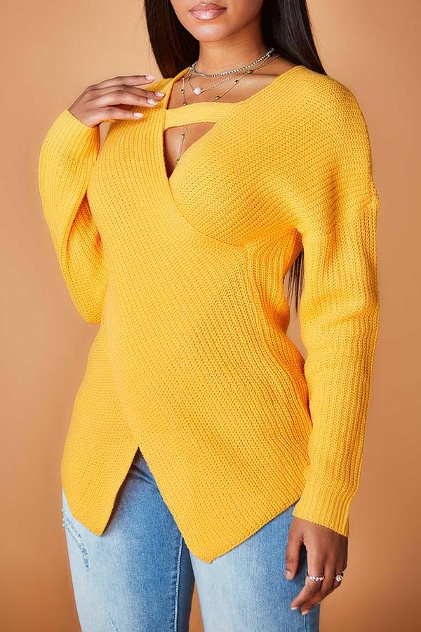 Lovely Sweet Cross-over Design Yellow Sweater