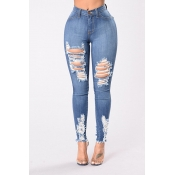 Lovely Chic Hollow-out Deep Blue Jeans