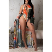 Lovely Hollow-out Blue One-piece Swimwear(With Cov