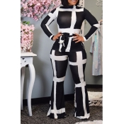 Lovely Casual Geometric Print Black Two-piece Pant