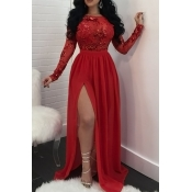 Lovely Chic Patchwork Slit Red Maxi Dress