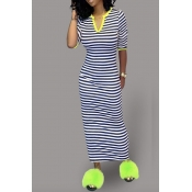 Lovely Casual Striped Navy Blue Ankle Length Dress