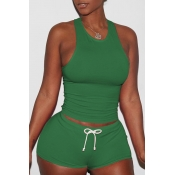 Lovely Casual Sleeveless Green Two-piece Shorts Se