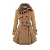 Lovely Casual Conventional Collar Button Light Tan