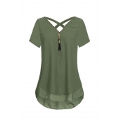 Lovely Stylish Patchwork Army Green Plus Size Blou